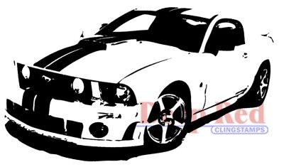 Deep Red Stamps Mustang Boss Rubber Cling Stamp