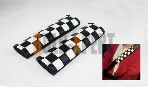 2002-2013 MINI COOPER S CHECKERED LEATHER FLAG COMFORT SEATBELT SHOULDER PAD X 2