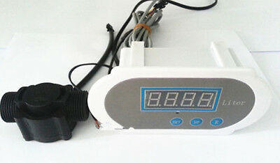 New 1 Water Flow Meter Digital Led With Hall Flow Sensor 12v Auto Flow Cutoff