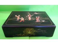 LARGE ANTIQUE CHINESE LACQUERED WOODEN BOX SOAPSTONE CARVINGS GEORGE ZEE & CO