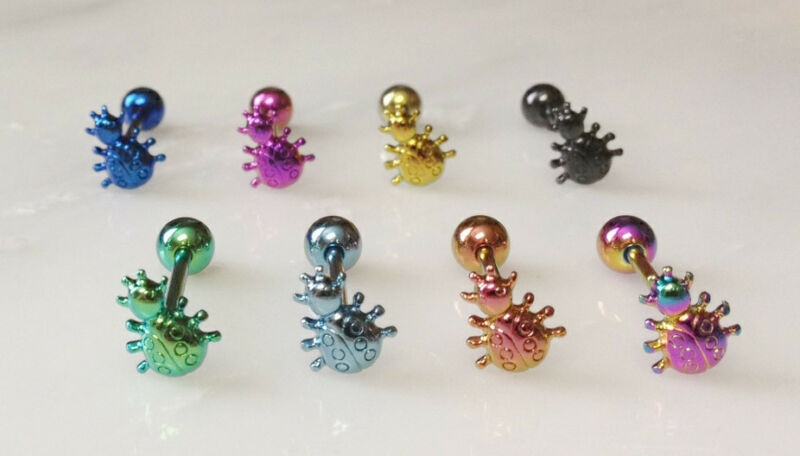 T#100 - 8pc Titanium Ladybug Tongue Rings Tounge