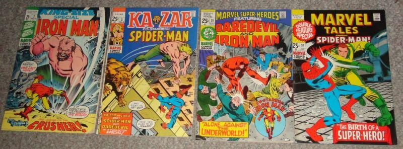 4 25¢ GIANT SIZE MARVEL COMICS IRON-MAN SIDER-MAN DAREDEVIL  VF-NM