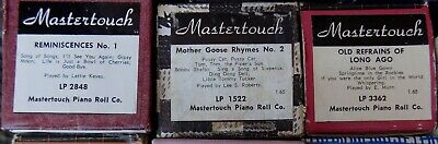 3 Pianola Rolls Mastertouch 15 Childrens and Popular singalong tunes