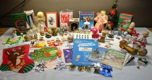 Large Lot Vintage Christmas Ornaments & Decorations Tree Stocking Santa Angel ++