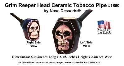 Grim Reaper Skull Pocket Tobacco Pipe #1850 Ceramic Glass Niki, Hand Made in USA