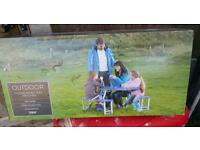Outdoor folding picnic table and chair