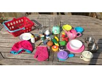 Large amount of Kids Kitchen Toys and Appliances - Pots, Shopping basket etc