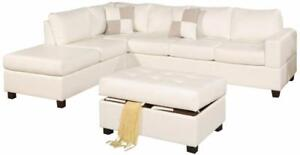 FREE DELIVERY in Vancouver! Leather Sectional sofa with Reversible Chaise! Black, Cream, and Espresso In Stock! NEW!