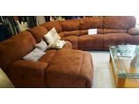 Corner tan suede sofa