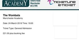 THE WOMBATS~MANCHESTER~ACADEMY~STANDING TICKETS~100% TRUSTED SELLER