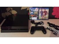 Sony playstation 4 500GB PS4 with 1 controller and 2 games