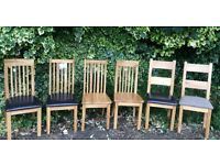Six Solid Oak Dining Chairs, New & Unused.