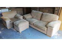 Fabric 3-seater Sofa, chair & Pouffe