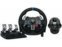 Logitech G29 wheelset and gear shifter