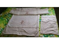 Cot or cotbed quilt, bumper and pillowcase
