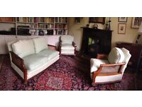 3 piece Bergere suite, 1920's or earlier. Canework in good condition. Upholstery needs recovering.