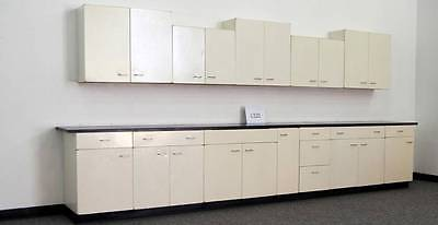 15 Base Cabinets  14 Wall Metal Cabinets Laboratory Group - Black Tops