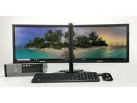Dual Screen Computer PC Setup Desktop - Intel i5, 16GB RAM, 240GB SSD
