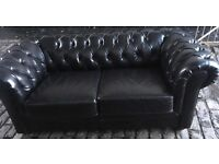 Stunning black leather chesterfield sofa superb condition