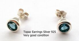 Topaz Sterling Silver Earrings, Very good Condition (see pictures)