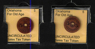 OKLAHOMA 5 Pressboard OLD AGE TAX TOKEN RECEIPT    UNCIRCULATED
