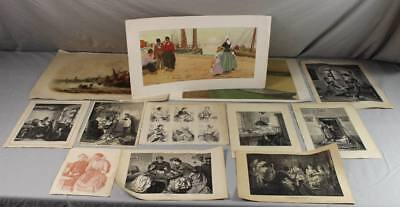 12 ältere Bilder - Grafiken,Drucke  - ab ca. 1900 bis ca. 51,5x39,5 cm.  /S22
