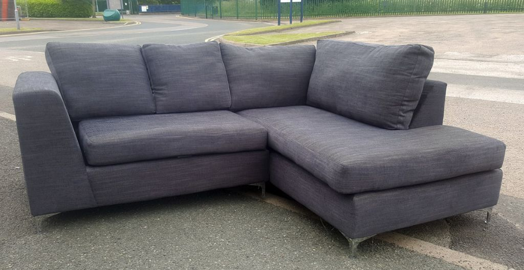 discontinued cheap grey corner sofa 280 fabric foam. Black Bedroom Furniture Sets. Home Design Ideas