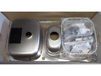Brushed / Matt Stainless Steel Sink 1.5 Bowl