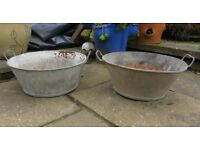 Vintage French metal bowls / tubs / planters