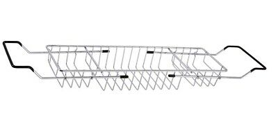 CHROME EXTENDABLE OVER BATH RACK SHELF BATHROOM STORAGE HOLDER BATH CADDY GRIP - Chrome Bath Caddy