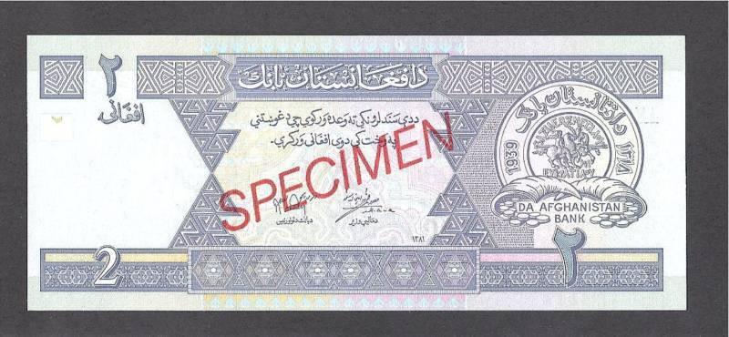 Afghanistan p-65s, UNC, 2 Afghanis, 2002,  SPECIMEN !!