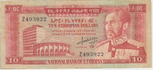 Ethiopia Banknote P. 27-3922 10 Dollars Haile Selassie pfx Z, F+  WE COMBINE