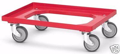 Transportroller Rollwagen Euroroller Transportwagen für 60x40 cm rot