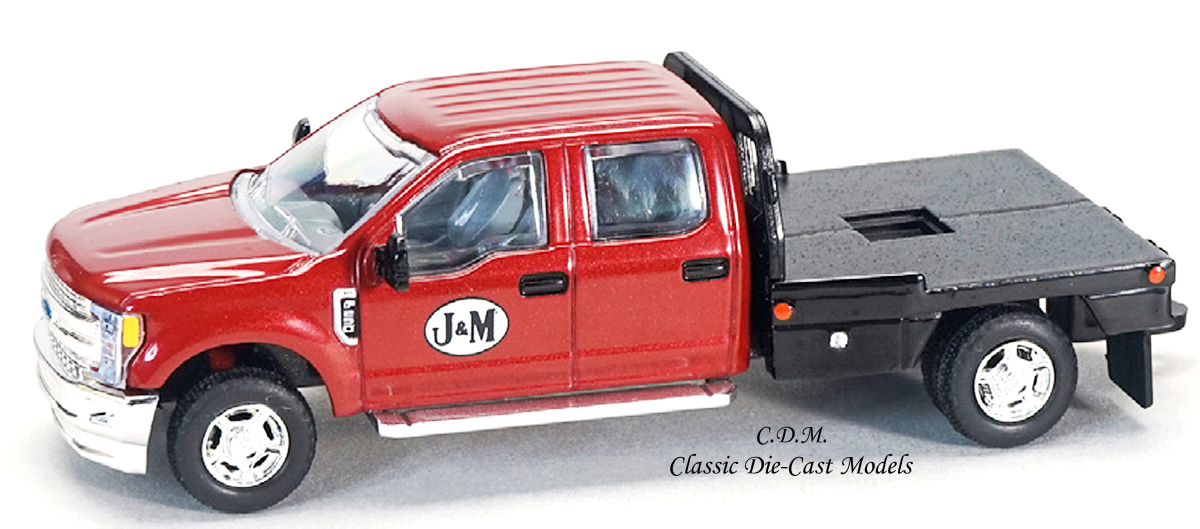 Ford F-250 Red Pickup w/Flatbed J&M MFG 1/64 Scale Diecast Metal SpecCast JMM100