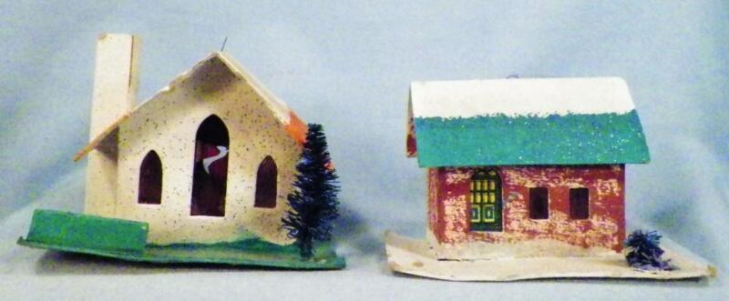 2 Vintage Christmas House Tree Ornaments Cardboard Teal Coral Glitter Japan #103