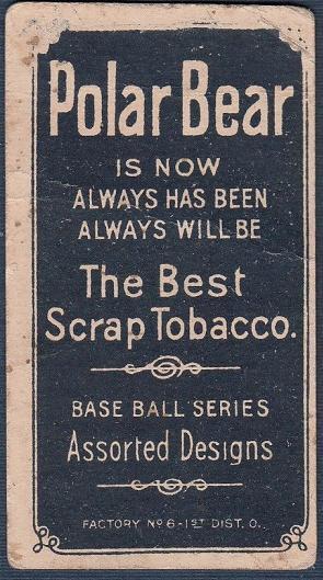 1909 T206 Tobacco Baseball Snodgrass Polar Bear Printing Freak Error