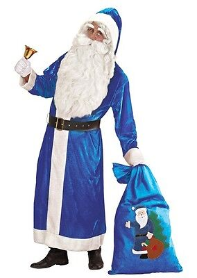 Blue Deluxe Hooded Father Xmas Coat Santa Claus XL Christmas Fancy Dres Costume