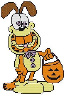 Garfield Halloween English (CROSS STITCH+ CRAFT PATTERN Garfield Cat Kitty Odie Dog Halloween Costume)