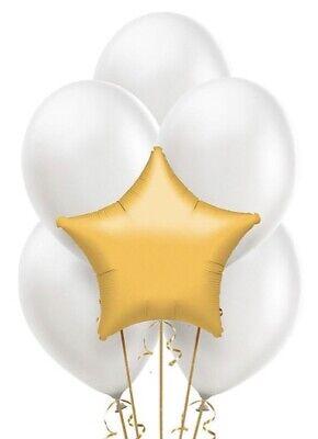 Gold Star Mylar / White Latex Balloons Bouquet (13) Birthday Decoration - Gold Star Balloons