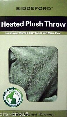 BIDDEFORD HEATED PLUSH ELECTRIC BLANKET THROW - COLOR SAGE - NEW IN BOX