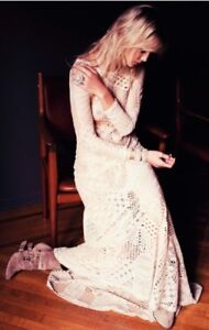 Gypsy Junkies Lace Patchwork Ivory Maxi Dress Size Small