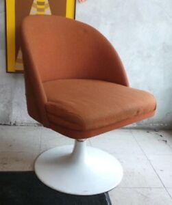 VINTAGE 1960'S RETRO ORANGE TULIP CHAIR  MCM
