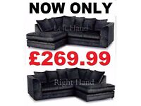 BRAND NEW BLACK CRUSHED VELVET/CORD 3+2 OR CORNER SOFA BRAND NEW FAST DELIVERY