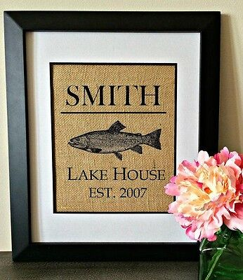 Personalized Burlap Print LAKE HOUSE Wall Art Established Sign CUSTOM GIFT HGTV](Established Sign)