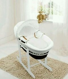White Waffle with Bows with Dark Wicker moses basket with Deluxe Rocking stand. Brand new.