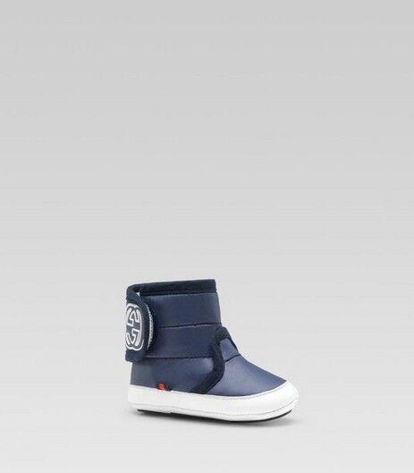 NIB 100% AUTH Gucci baby Nylon Boots Blue/Red/Blue Web Sz 17 $200 271125