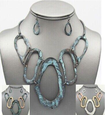Craft Oval Statement Necklace Hoop Earrings Metal Bib Tribal Hammered Choker Set