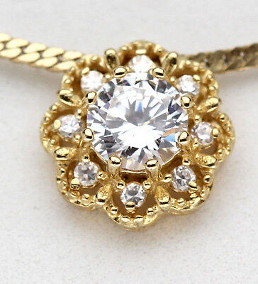 0c25e9c6fa Yellow 18K Gold Sterling Silver CZ Pendant Flower Christmas Gift Cubic  Zirconia