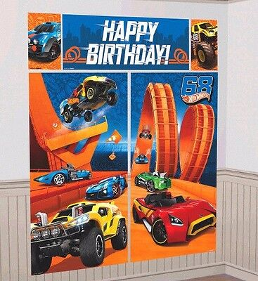 Hot Wheels WILD RACER Scene Setter Wall Decoration Poster Birthday Party Supply - Hotwheels Party