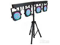 Outstanding 2 x 4LED stage lights full kit, with pedal and all leads flight cased